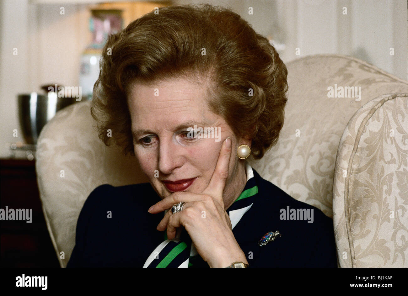 Prime Minister Margaret Thatcher pensive expression private session in her sitting room at 10 Downing Street in - Stock Image