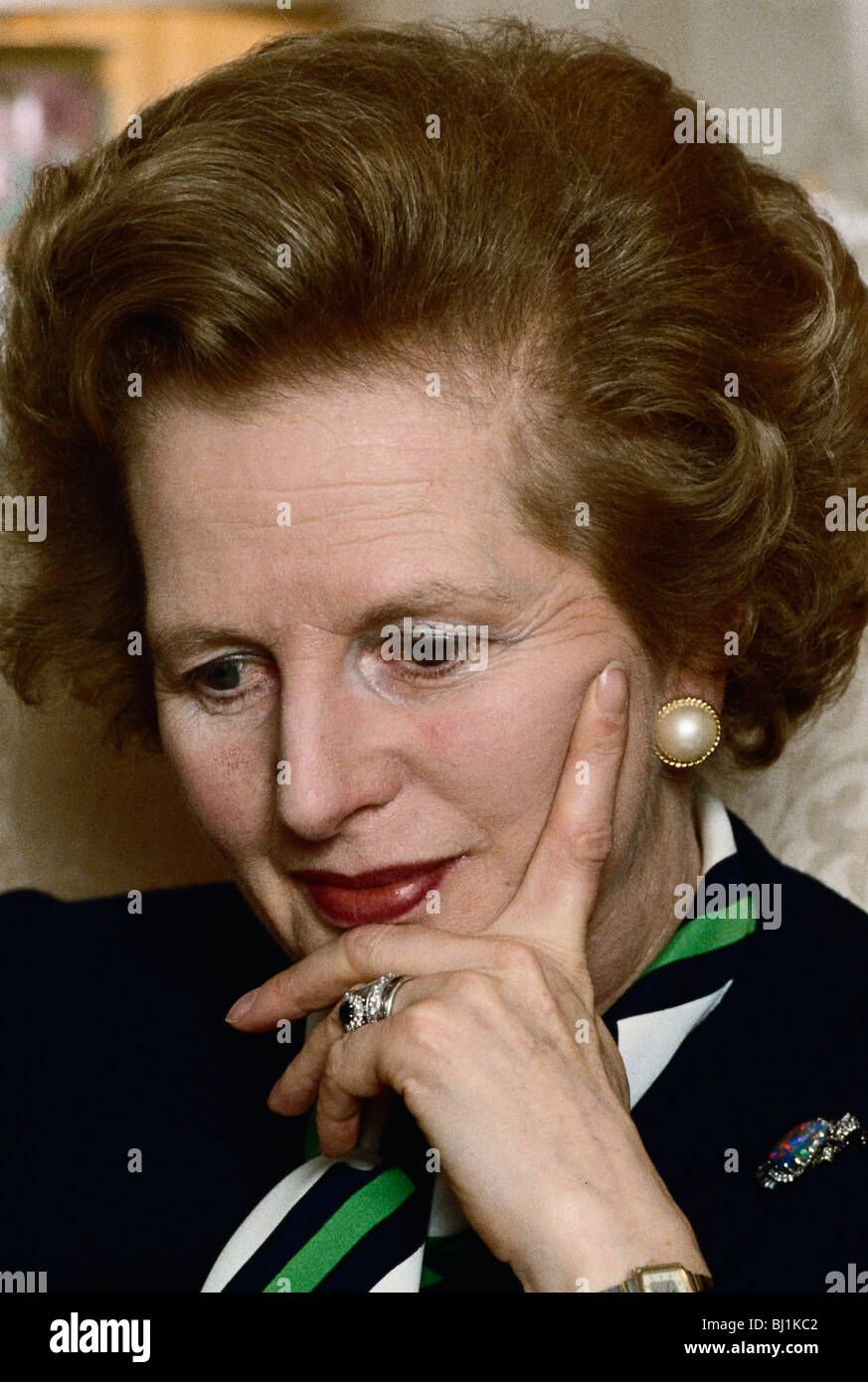 Prime Minister Margaret Thatcher pensive expression during photo session in sitting room at 10 Downing Street London - Stock Image