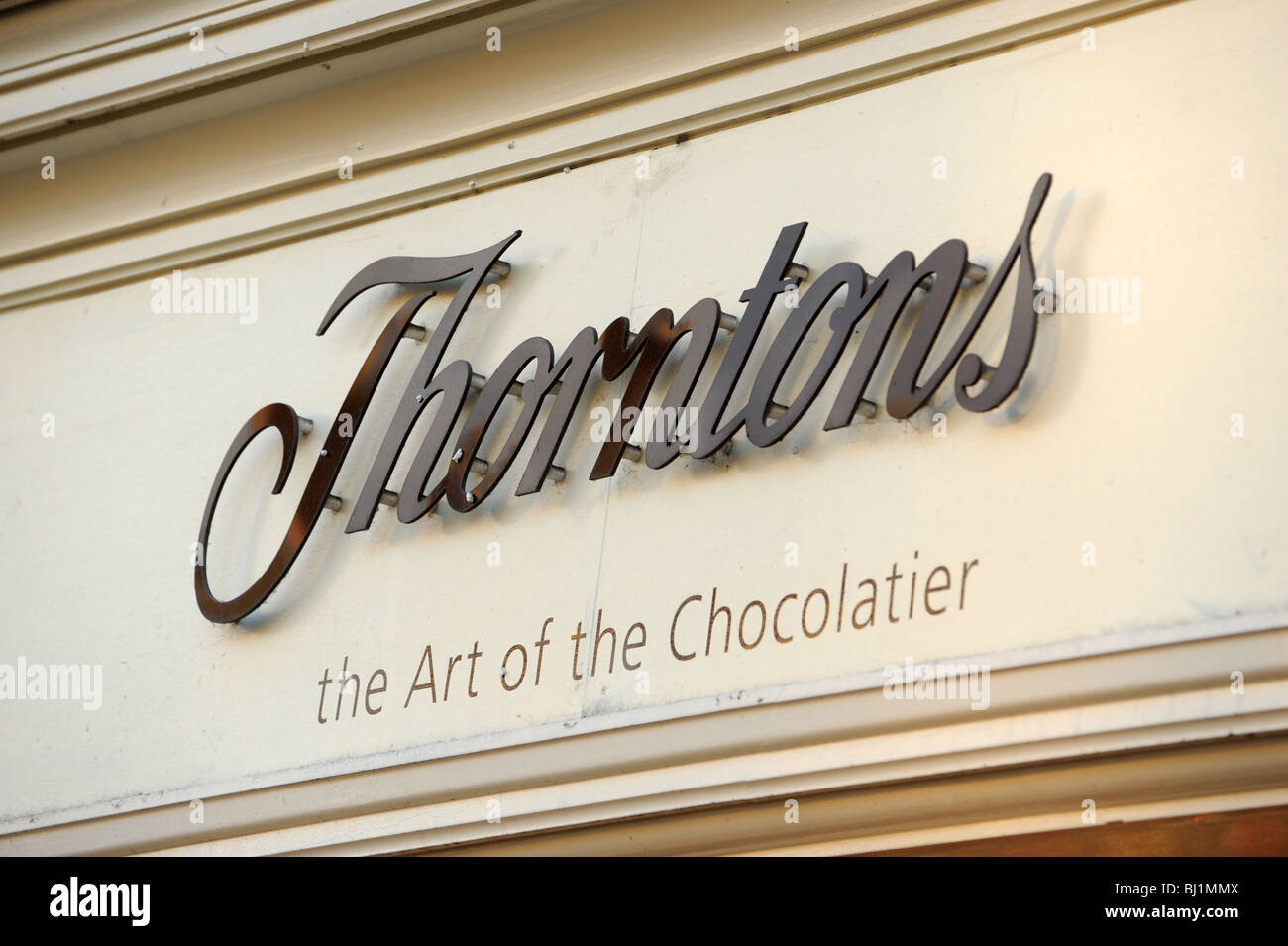 Thorntons Chocolate shop sign England Uk - Stock Image