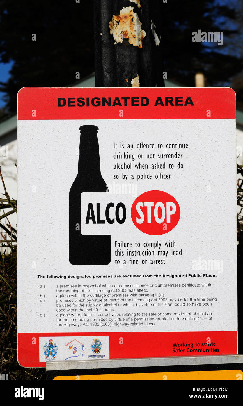 an ' alco stop ' sign in cornwall uk - Stock Image