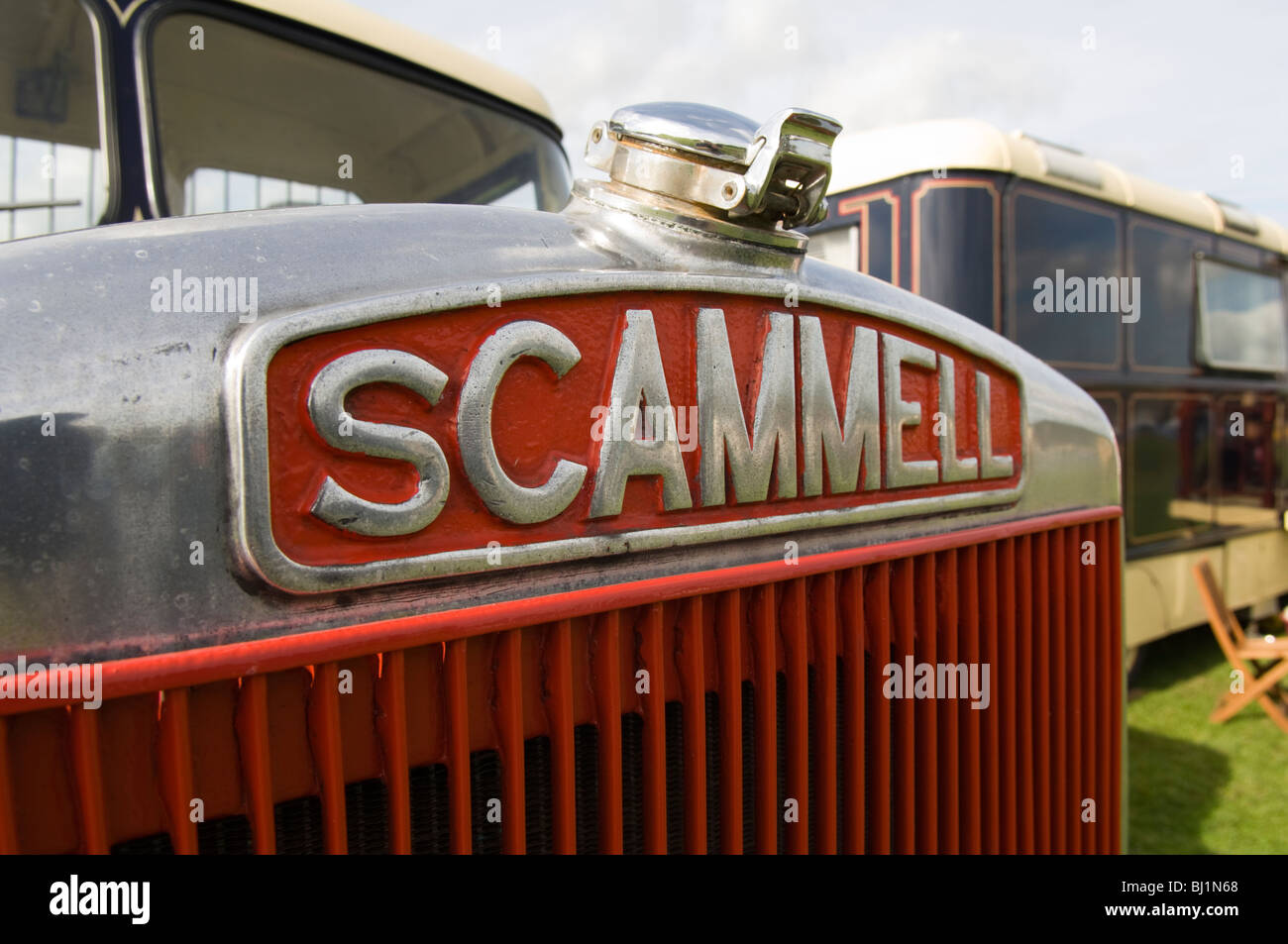 Close up of the Scammell logo on the front of a vintage lorry - Stock Image