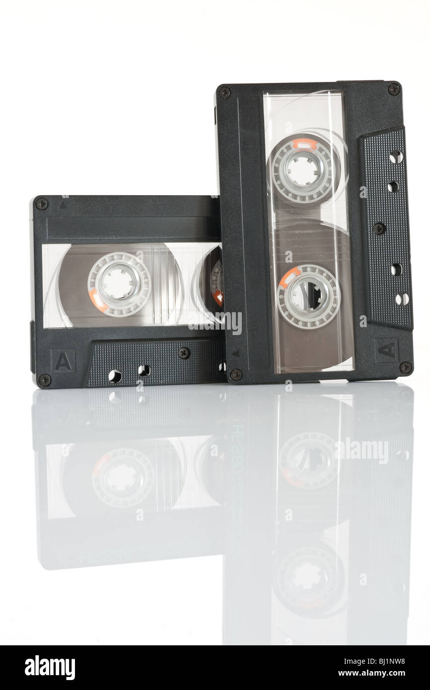 two audio cassette isolated on white background with clipping path Stock Photo