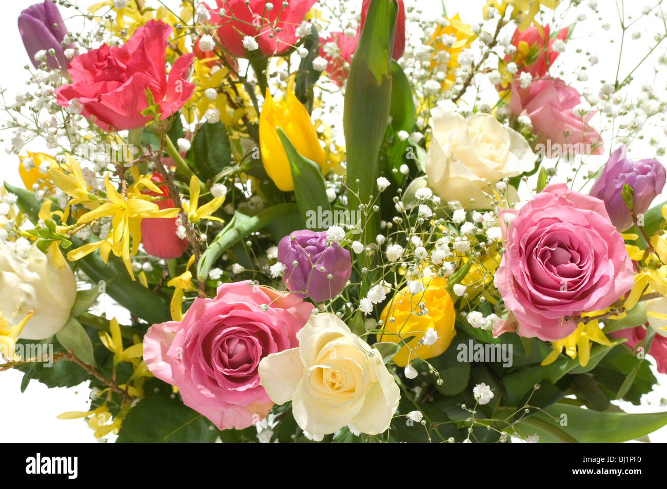 Bouquet of Spring flowers in clear glass vase isolated as a cutout ...