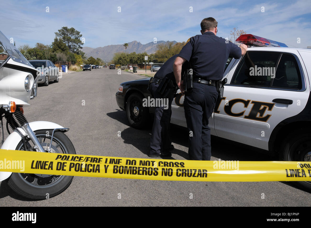 Tucson Police investigate a homicide and shooting of another man believed to be gang related in Tucson, Arizona, - Stock Image