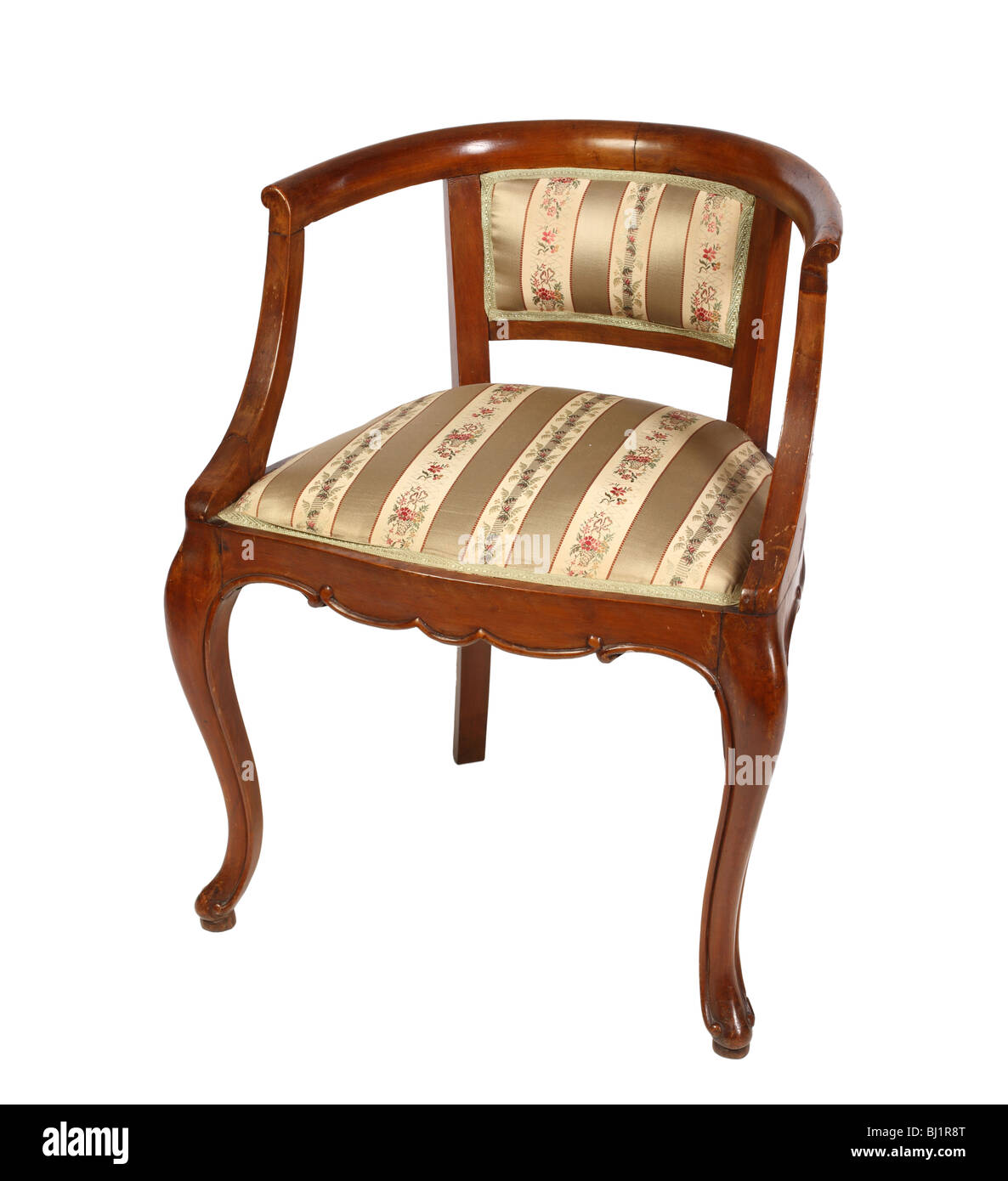 Fine Image Of Classic Old Wooden Armchair On White