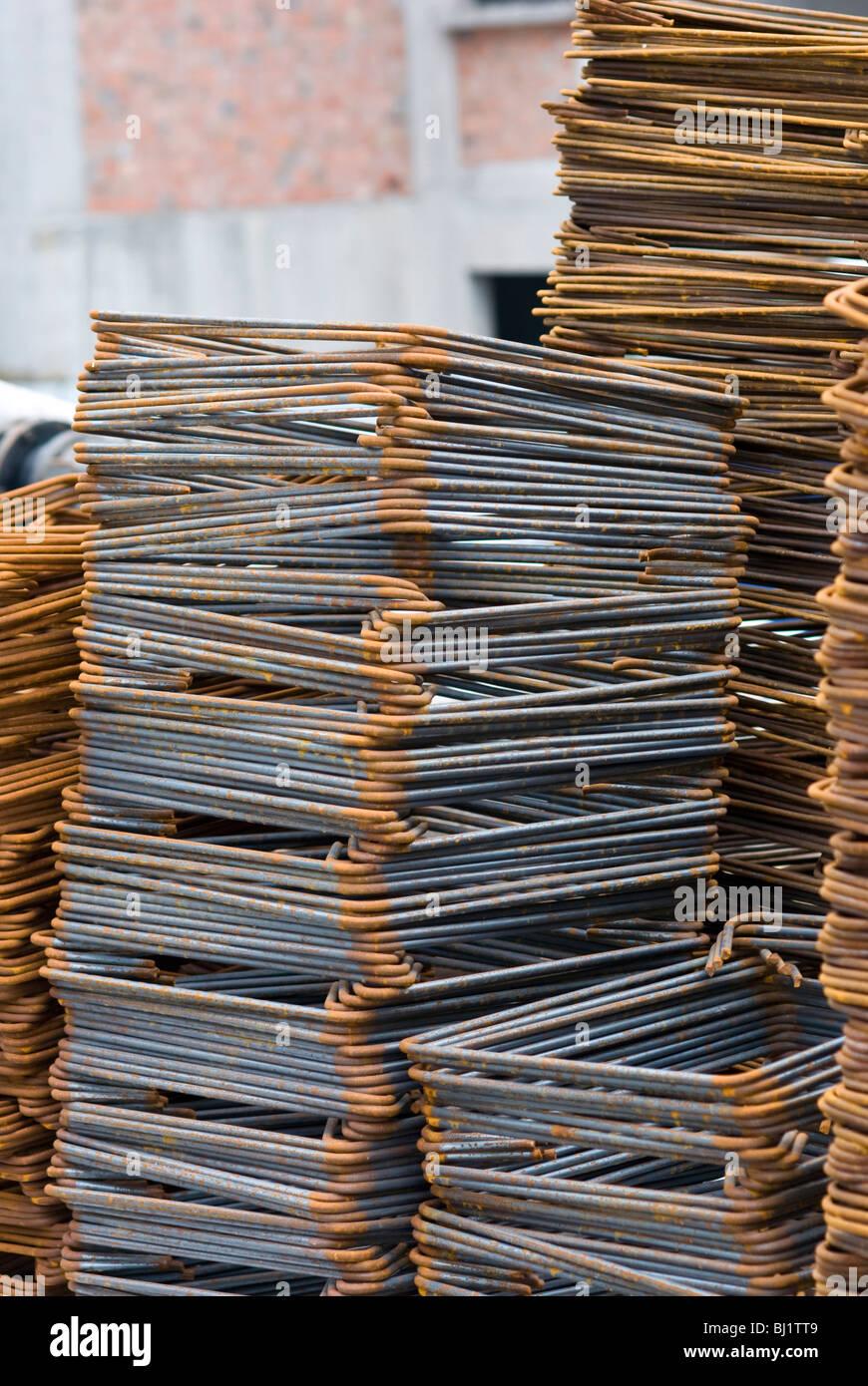 Close-up of Rusty High Tensile Deformed Steel Bar - Stock Image