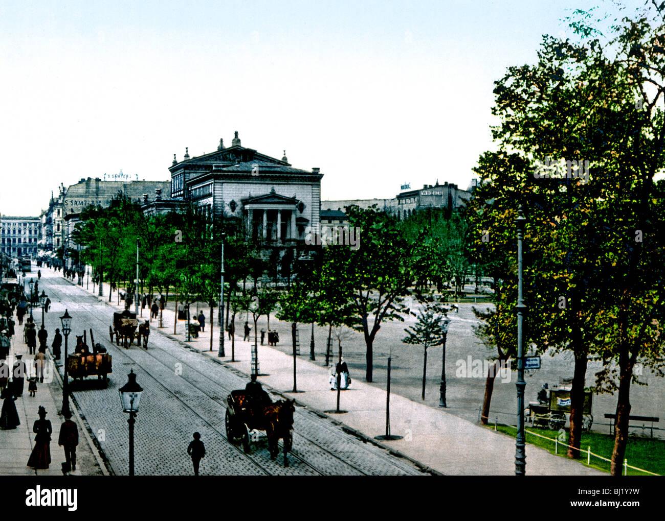 Wilhelmsplatz und Theater Posen - Stock Image