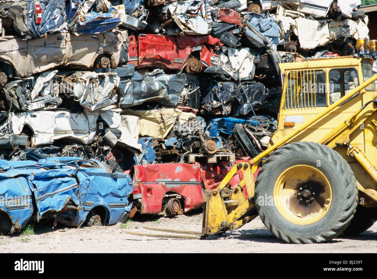 A wrecking yard, Sweden. - Stock Image