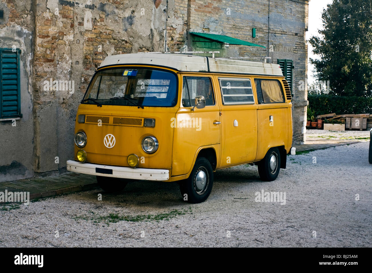 Volksvagen Beetle Bus T2 Vintage restored in Ancona, Marche Italy - Stock Image