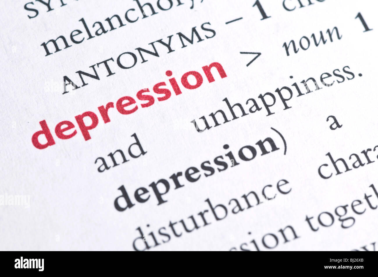 Dictionary definition of depression - Stock Image