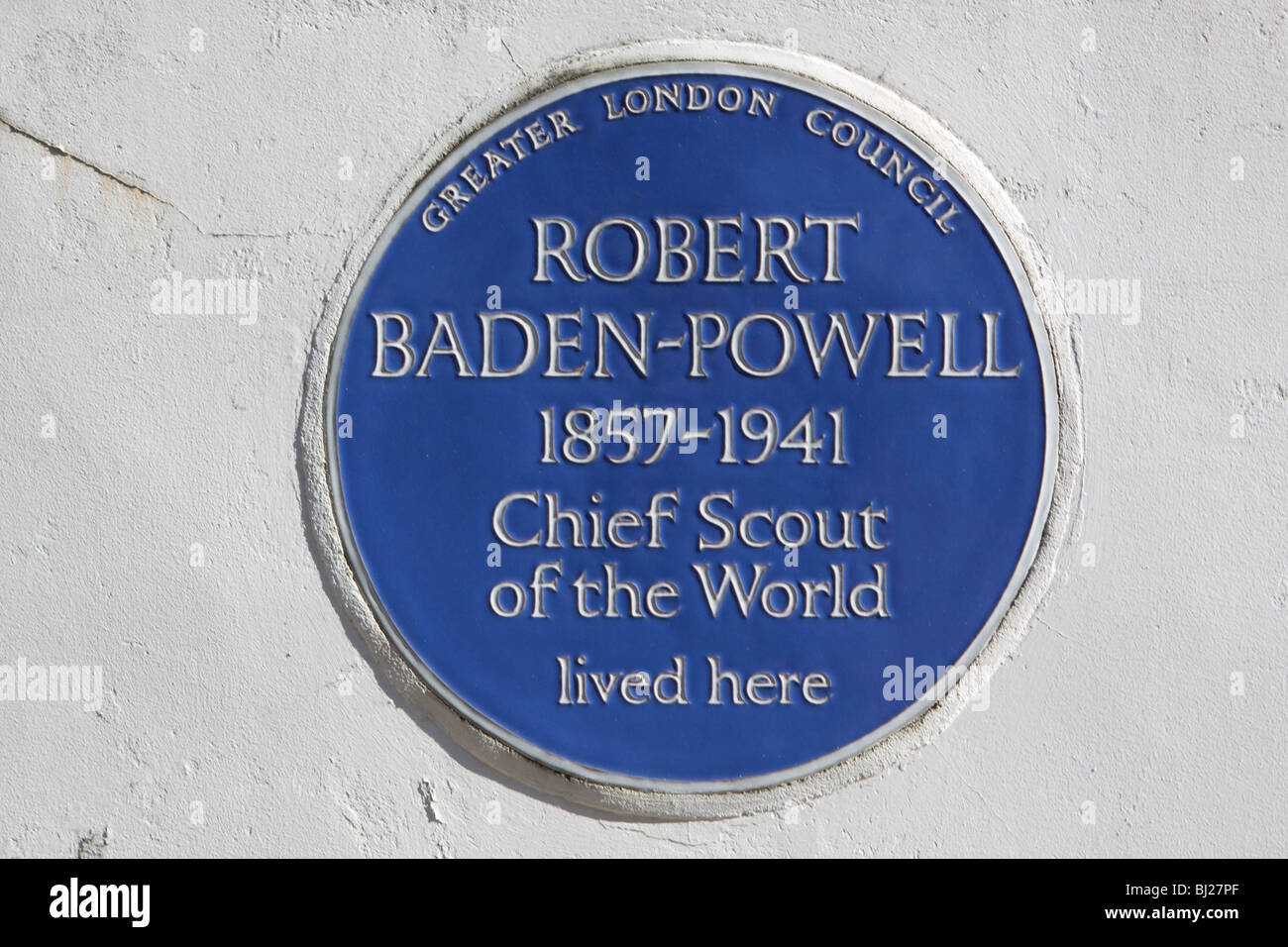 Blue Plaque Dedicated to Robert Baden Powell the Chief Scout of the World - Stock Image