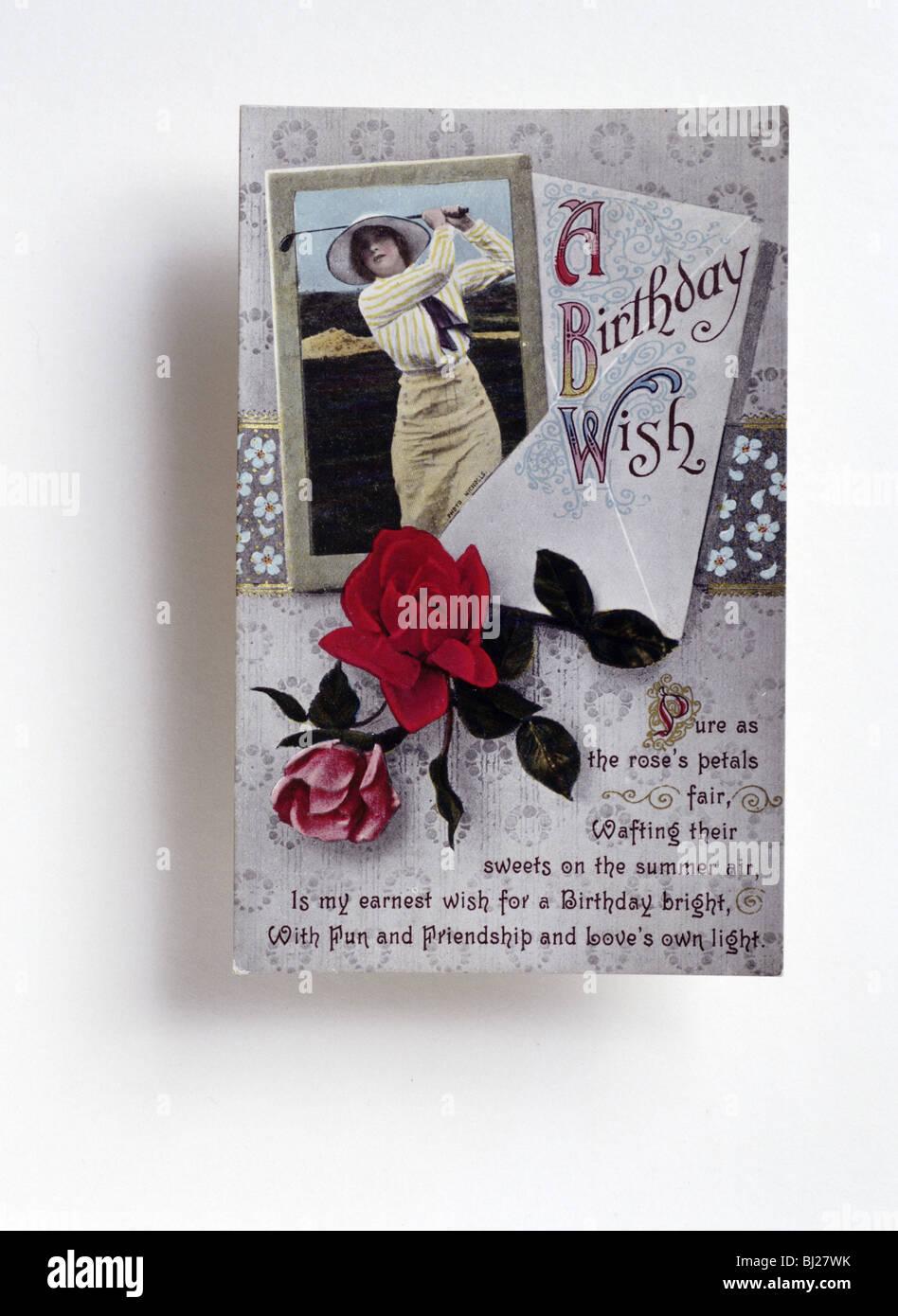 Birthday Card With A Golfing Theme C1910