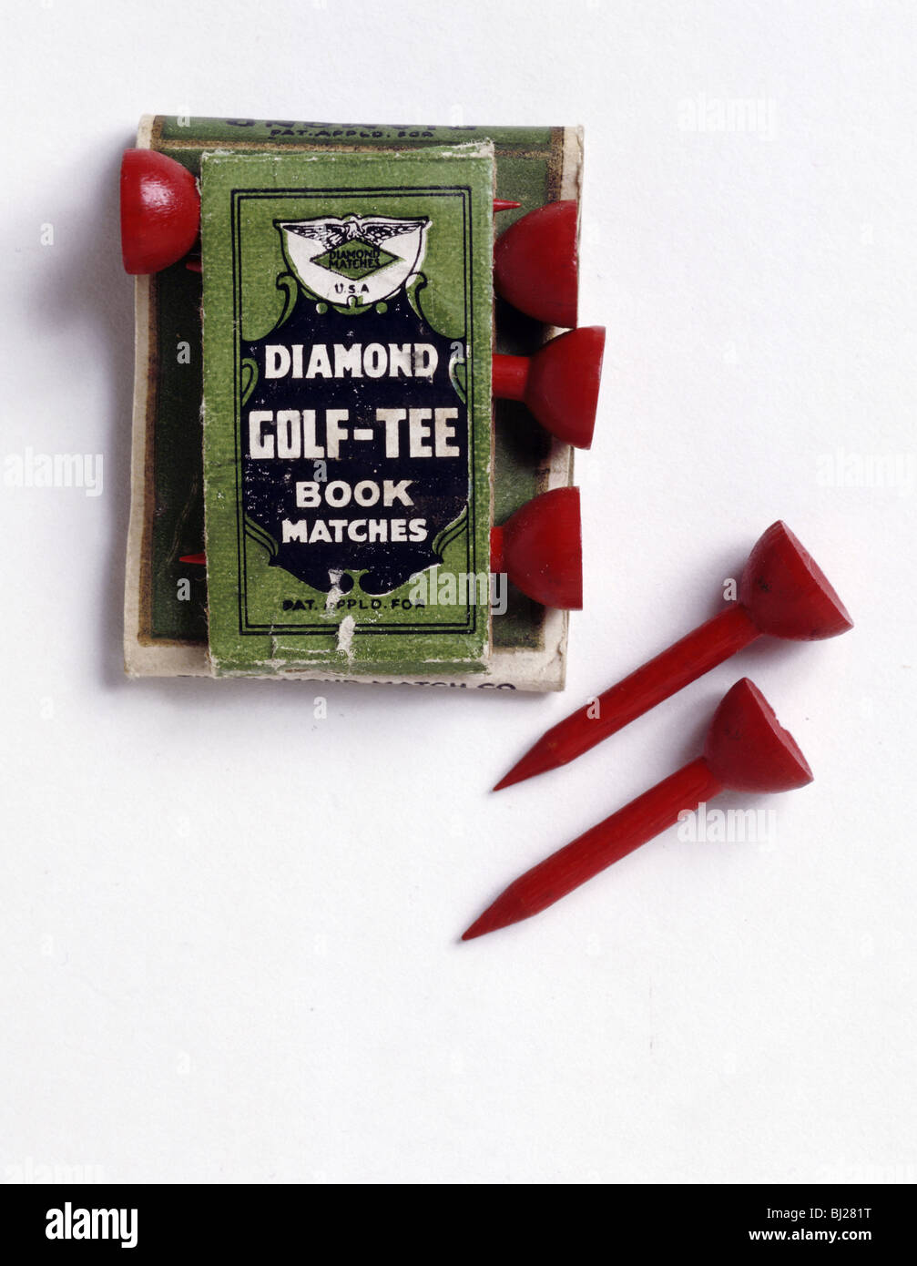 Diamond Golf Tee book of matches, c1900. - Stock Image