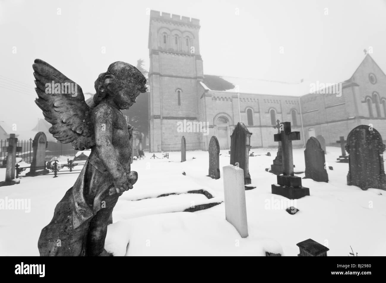 Statue of Angel, Churchyard, St Pauls Church, Whiteshill, Stroud, Gloucestershire, UK - Stock Image