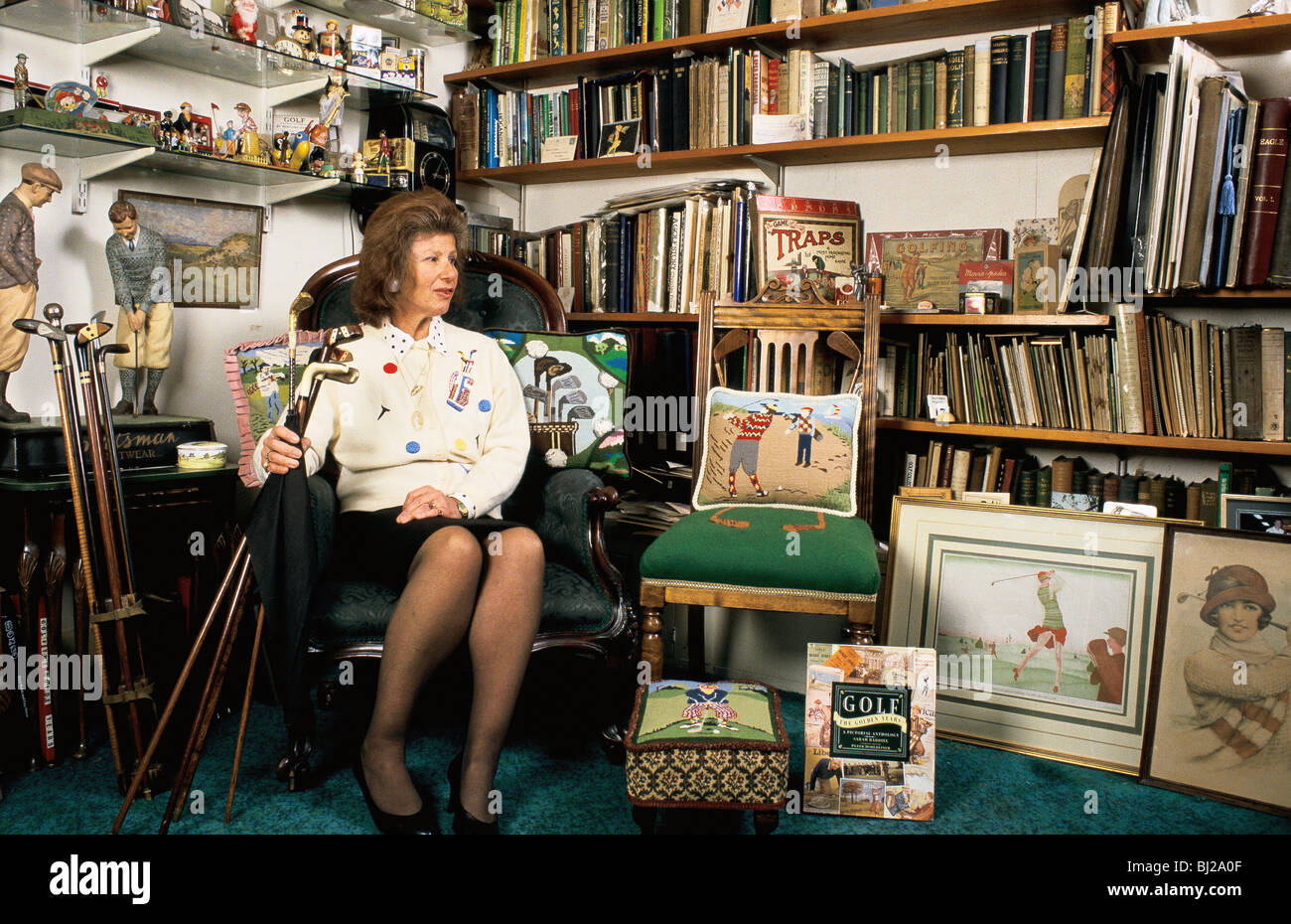 Author Sarah Fabian Baddiel, with some of her collection of golfiana, c2004. - Stock Image