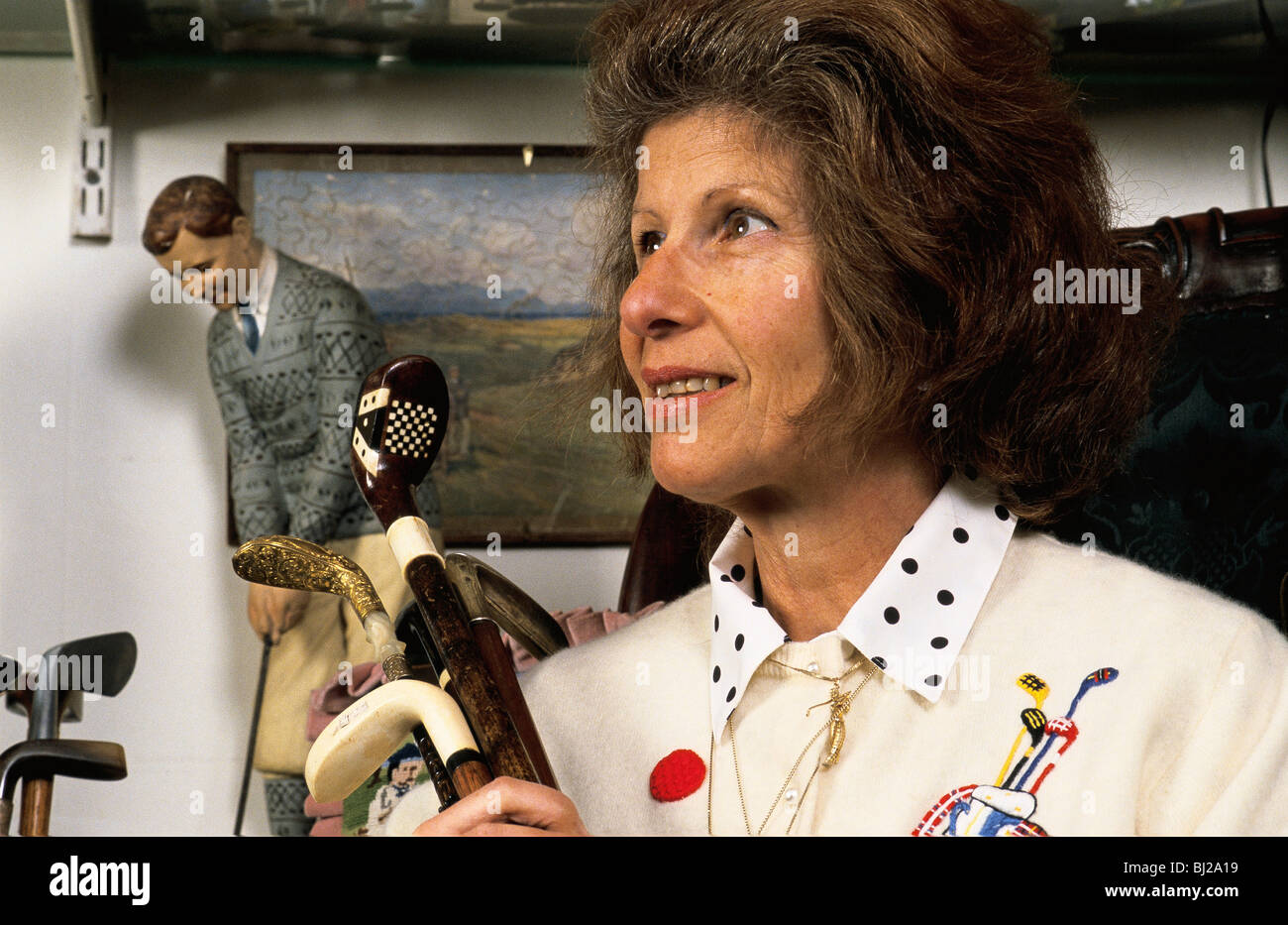 Author Sarah Fabian Baddiel with a selection of her golfiana collection, 2004. - Stock Image