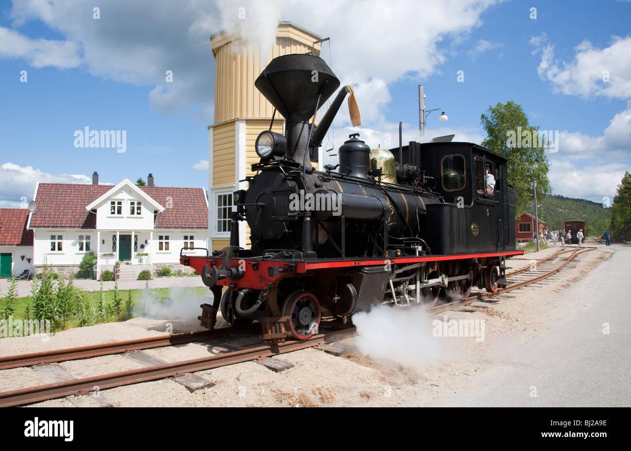 Norway steam engine train Norwegian Setesdal Line - Stock Image
