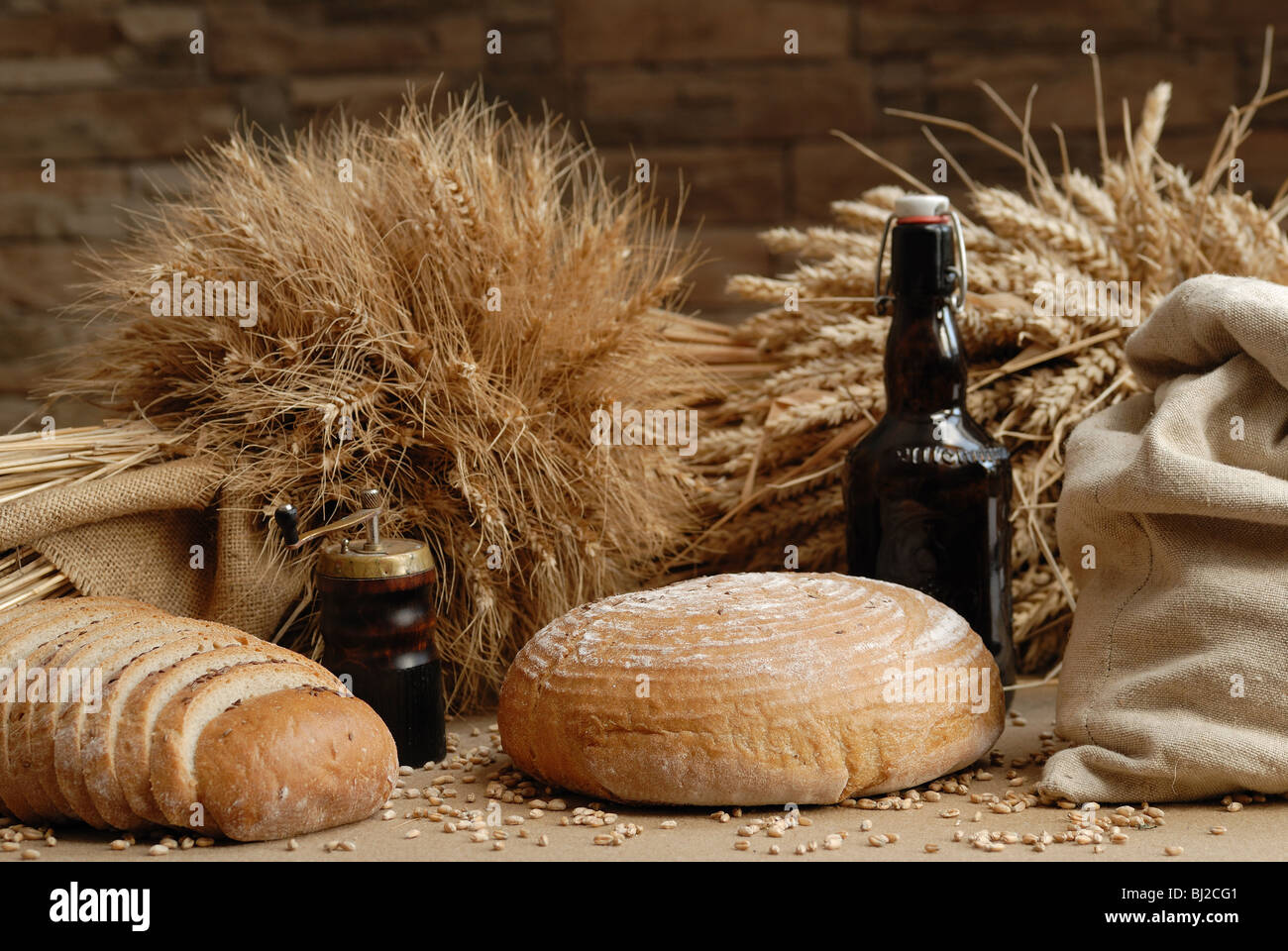 Bag and bread - Stock Image