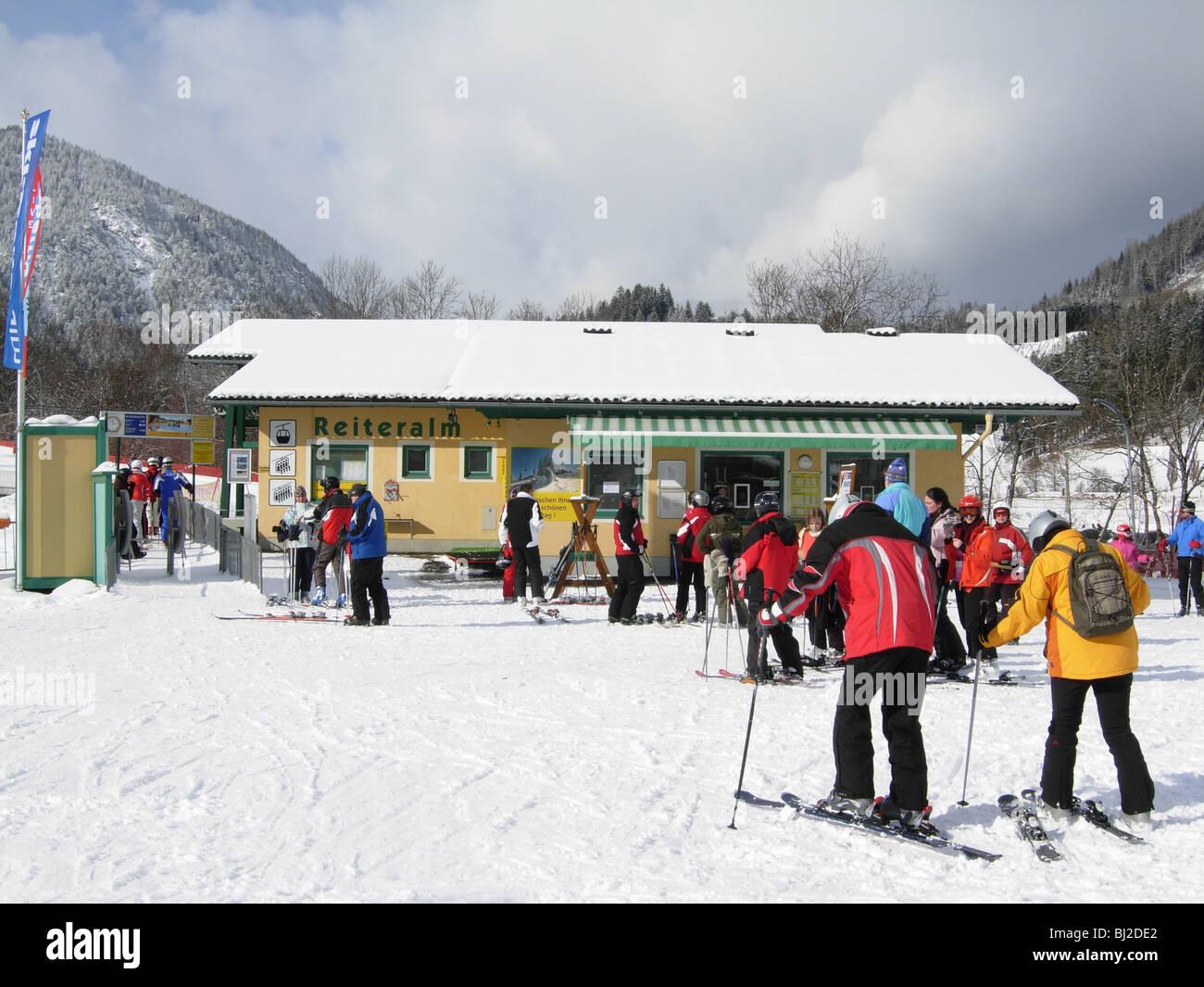 Reiteralm ski lift in the village of Pichl Austria - Stock Image