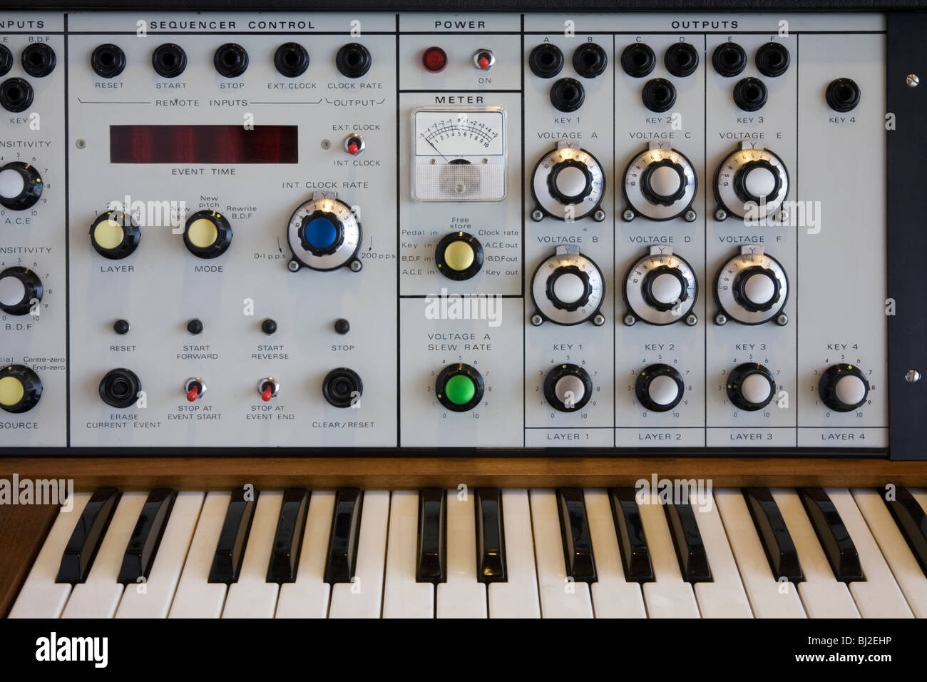 Musical instruments synthesizer 1975 - Stock Image