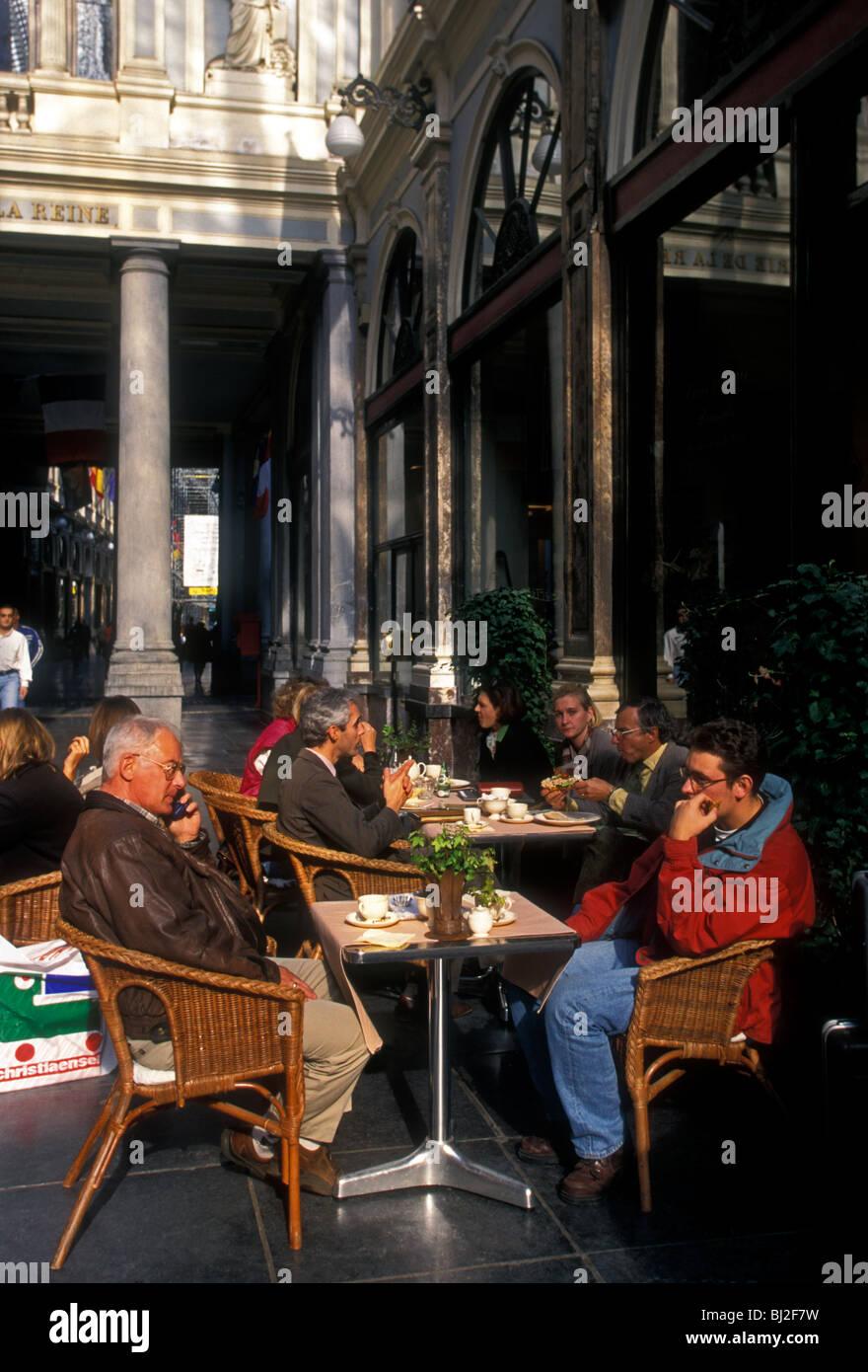 Belgians, Belgian men, teahouse, cafe, restaurant, Saint Hubert Royal Galleries, city of Brussels, Brussels, Brussels - Stock Image