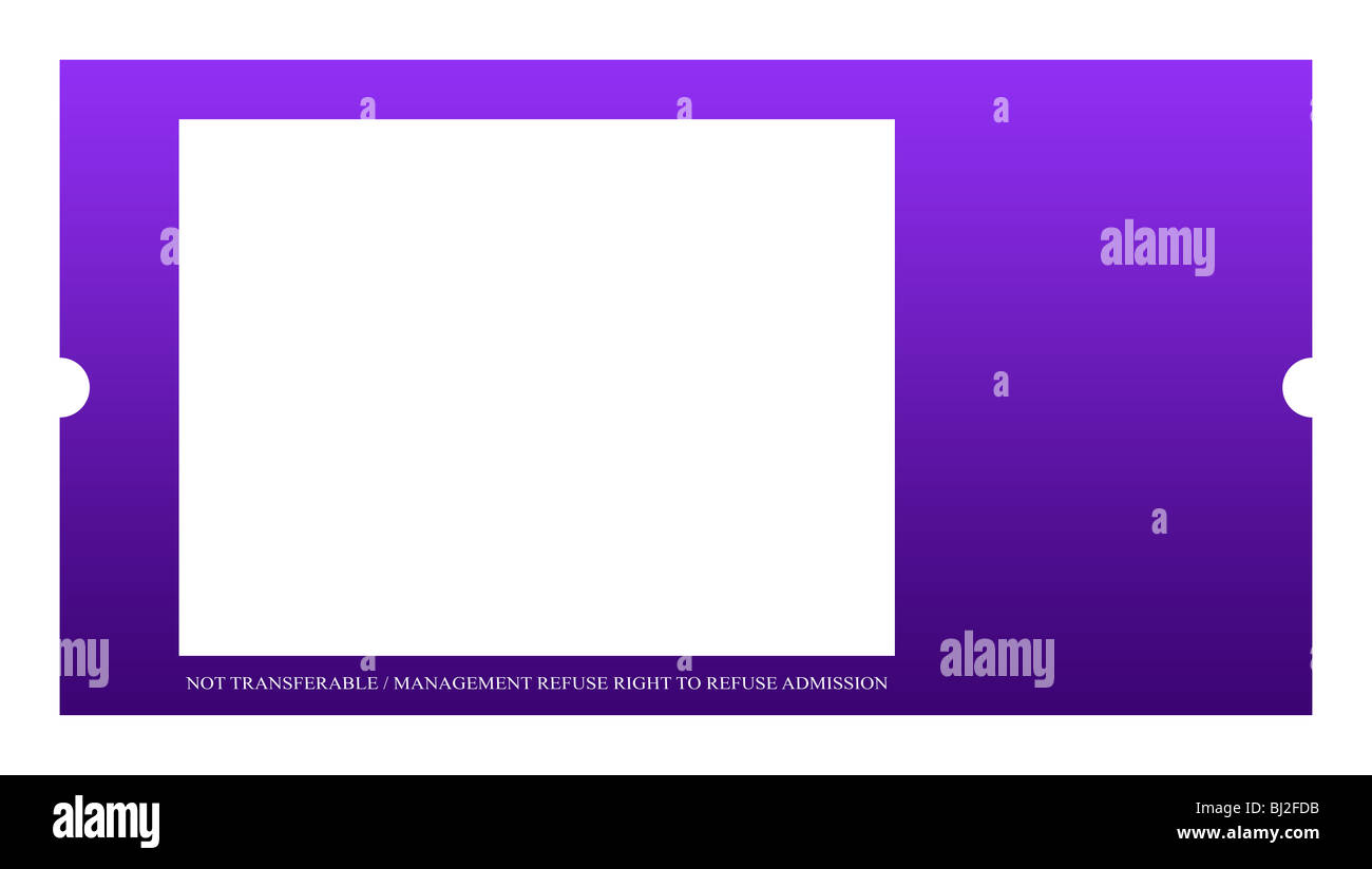 blank event ticket isolated on white background stock photo