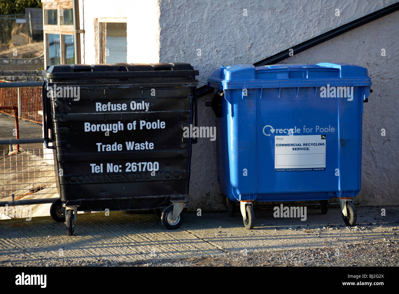Borough of Poole Trade Waste and Commercial Recycling Service wheelie bins - Stock Image