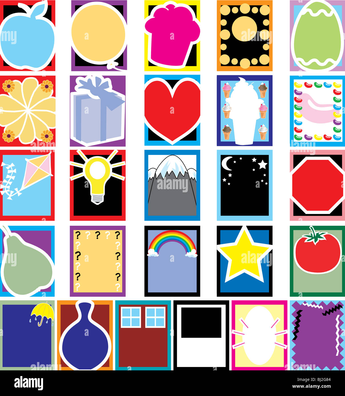 Vector Fun 26 Colorful Object Silhouette cards or templates. No ...