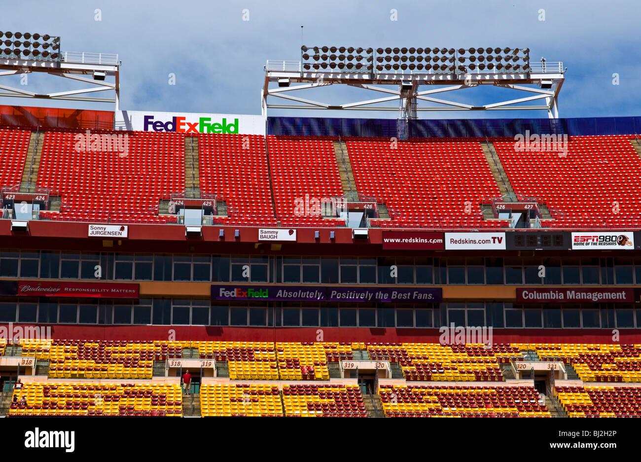 An empty stadium - FED EX Field Home of the Washington Redskins NFL Football team, - Stock Image