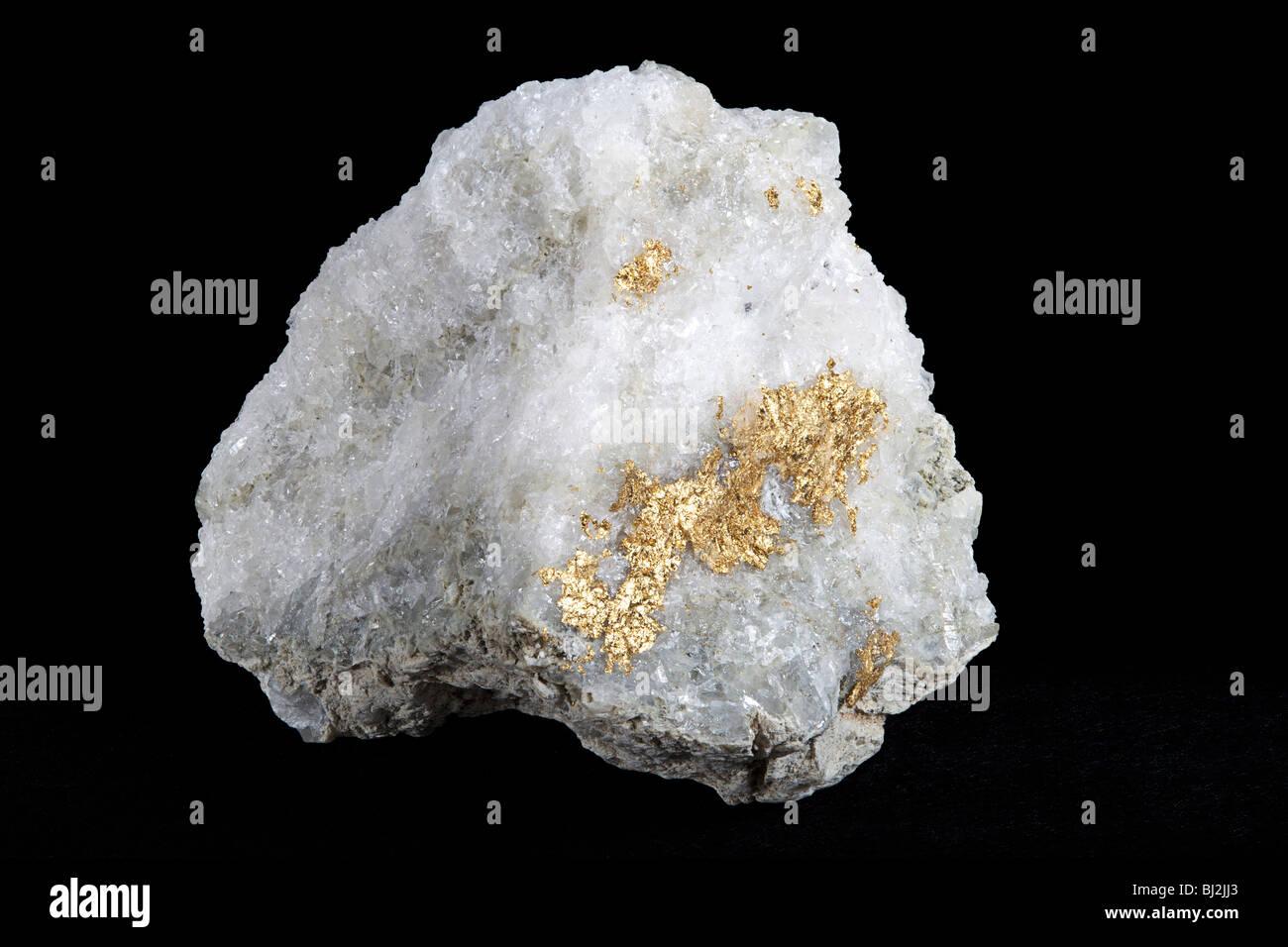 Gold on quartz, Arizona - Stock Image