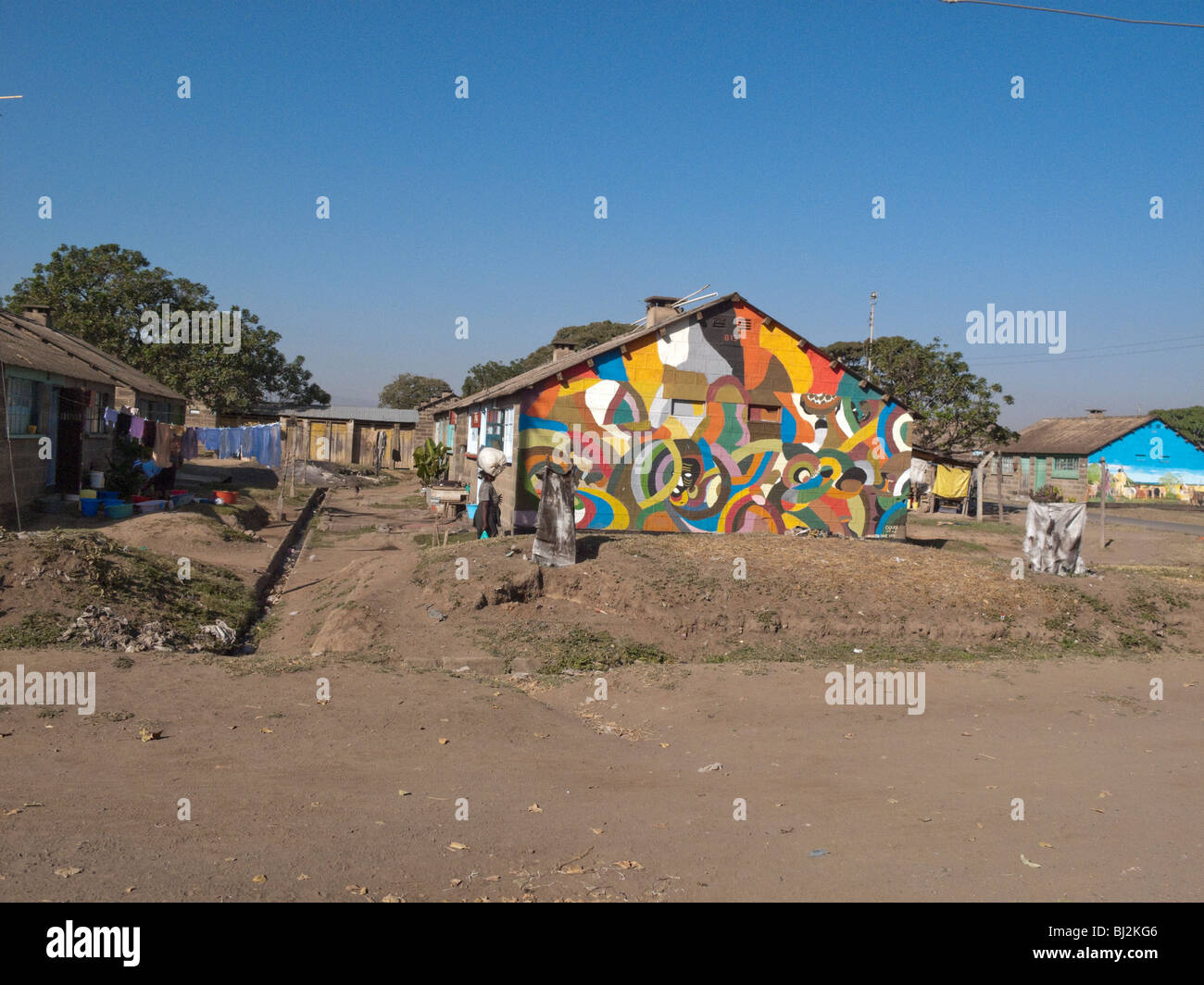 Painted house in a kenyan village rift valley africa