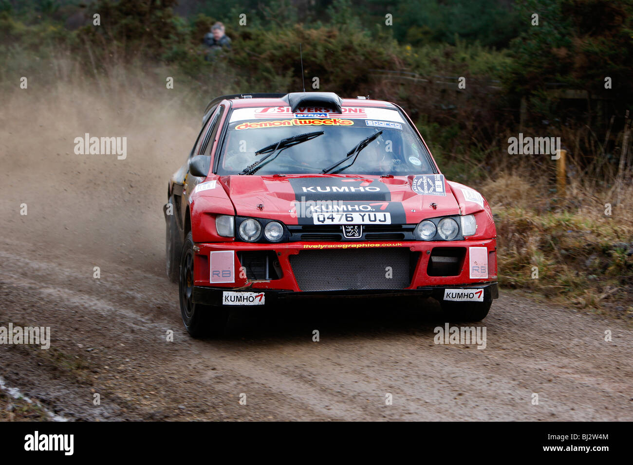 Andy Burton's Peugeot Cosworth at the 2010 Rallye Sunseeker. - Stock Image