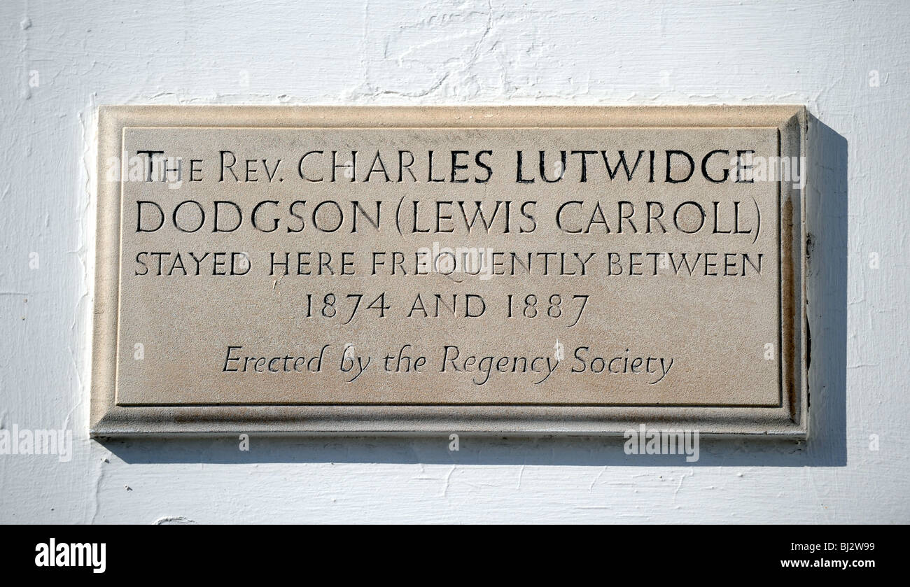 Plaque to where Rev Charles Lutwidge Dodgson otherwise known as Lewis Carroll  stayed in Brighton Sussex Square - Stock Image