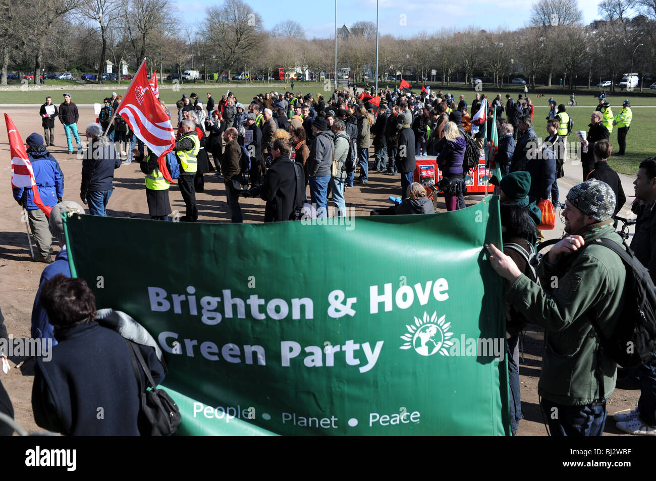 Brighton and Hove Green Party taking part in a demonstration against job losses Stock Photo