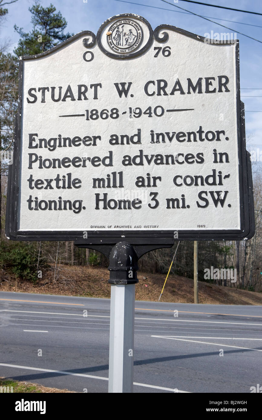 Stuart W. Cramer 1868-1940  Engineer and inventor. Pioneered advances in textile mill air conditioning. Home 3 mi. - Stock Image