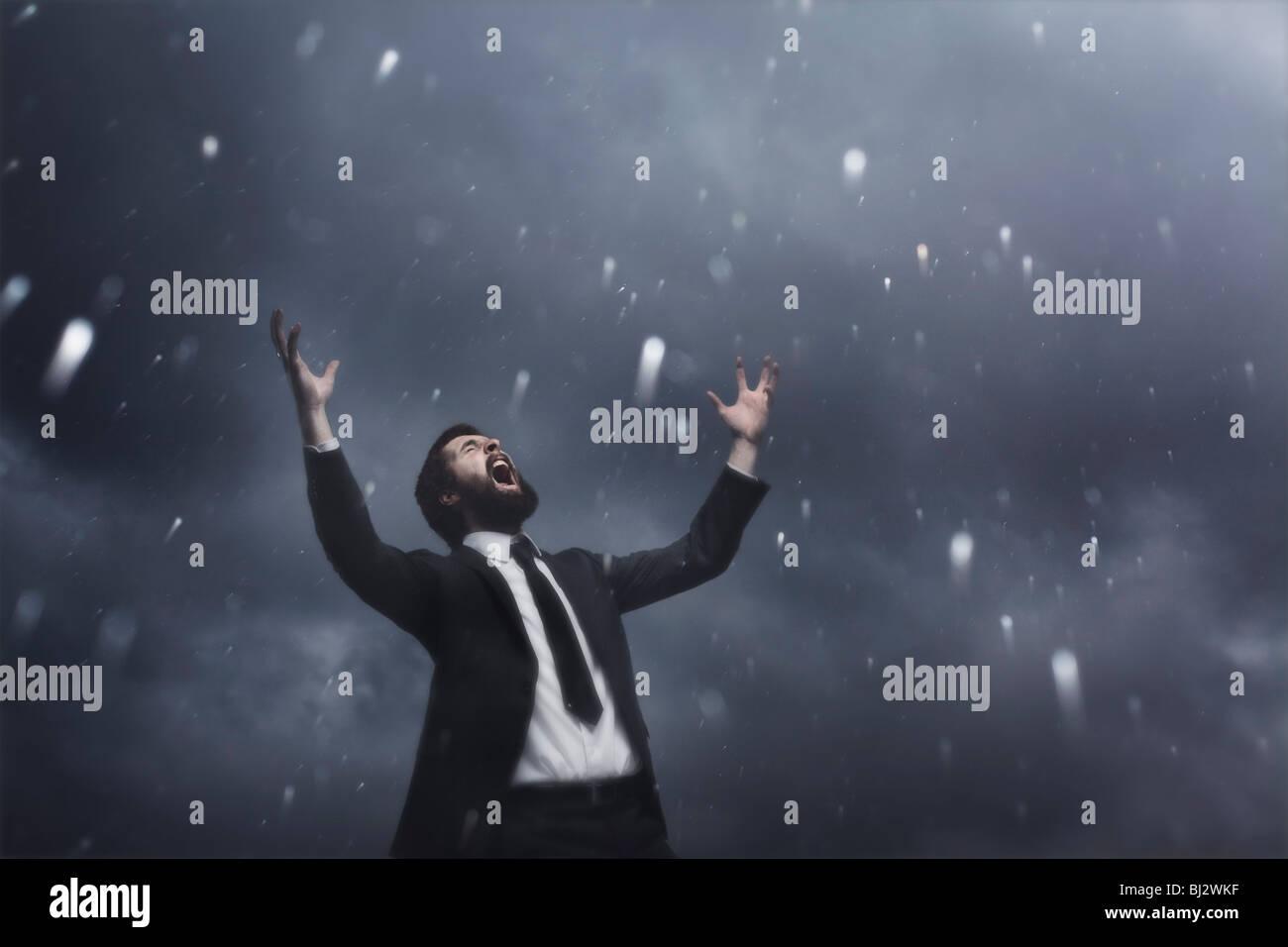 Man in the rain - Stock Image