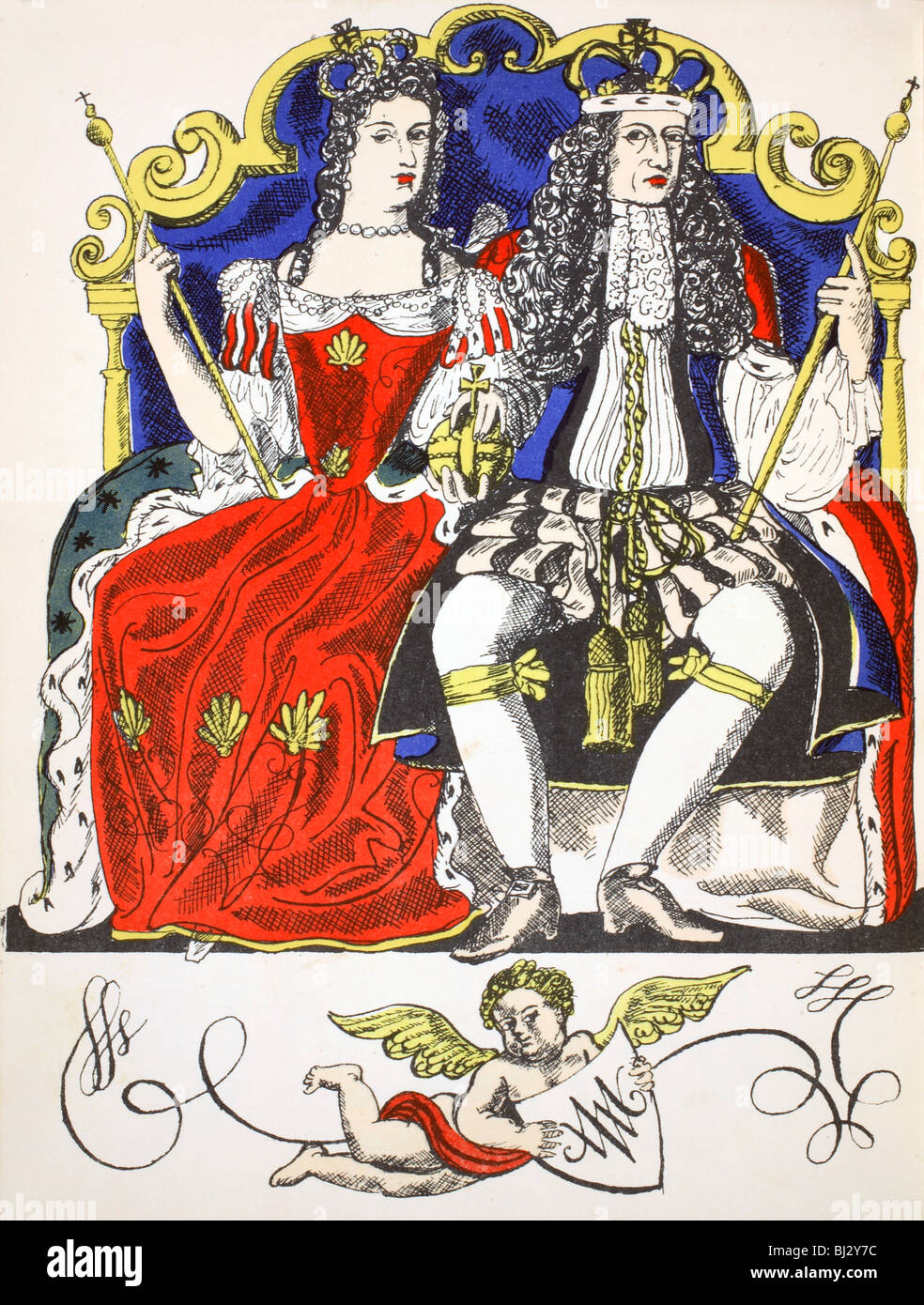 William III and Mary II, King and Queen of Great Britain and Ireland from 1688, (1932). Artist: Rosalind Thornycroft - Stock Image