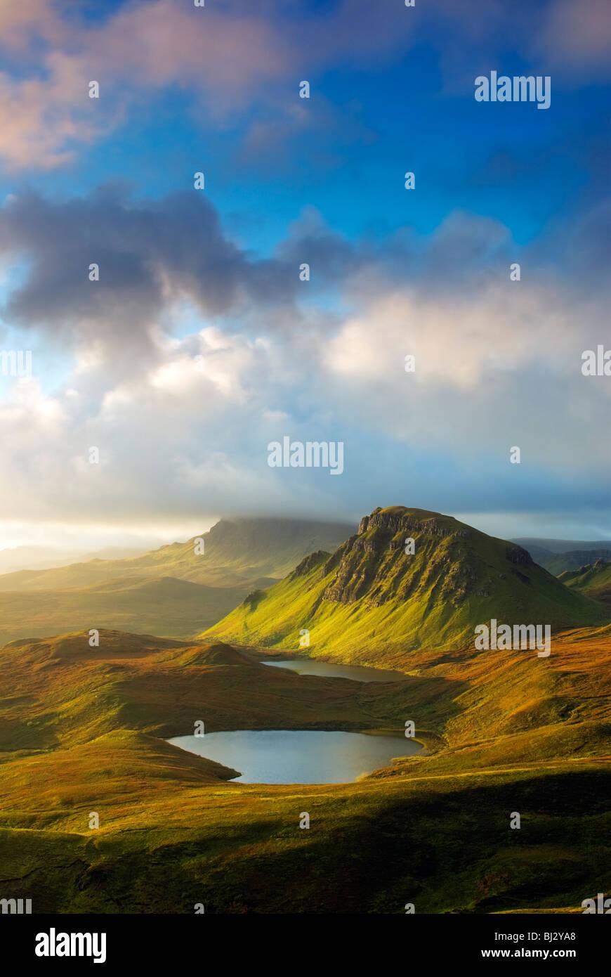 View of the Trotternish Ridge at sunrise, Quirang, Isle of Skye - Stock Image