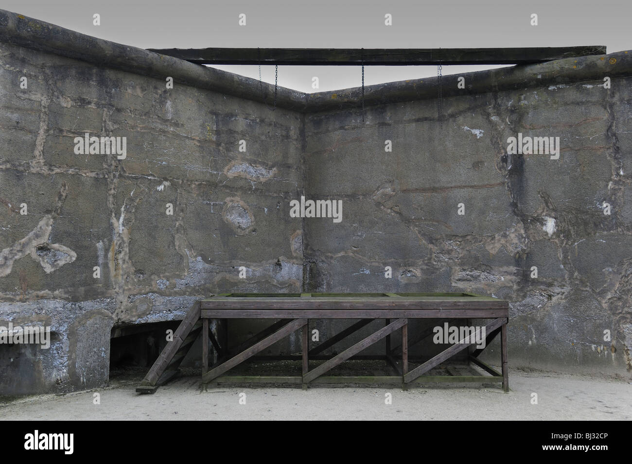 Gallows where prisoners were executed at Fort Breendonk, Second World War Two concentration camp in Belgium - Stock Image