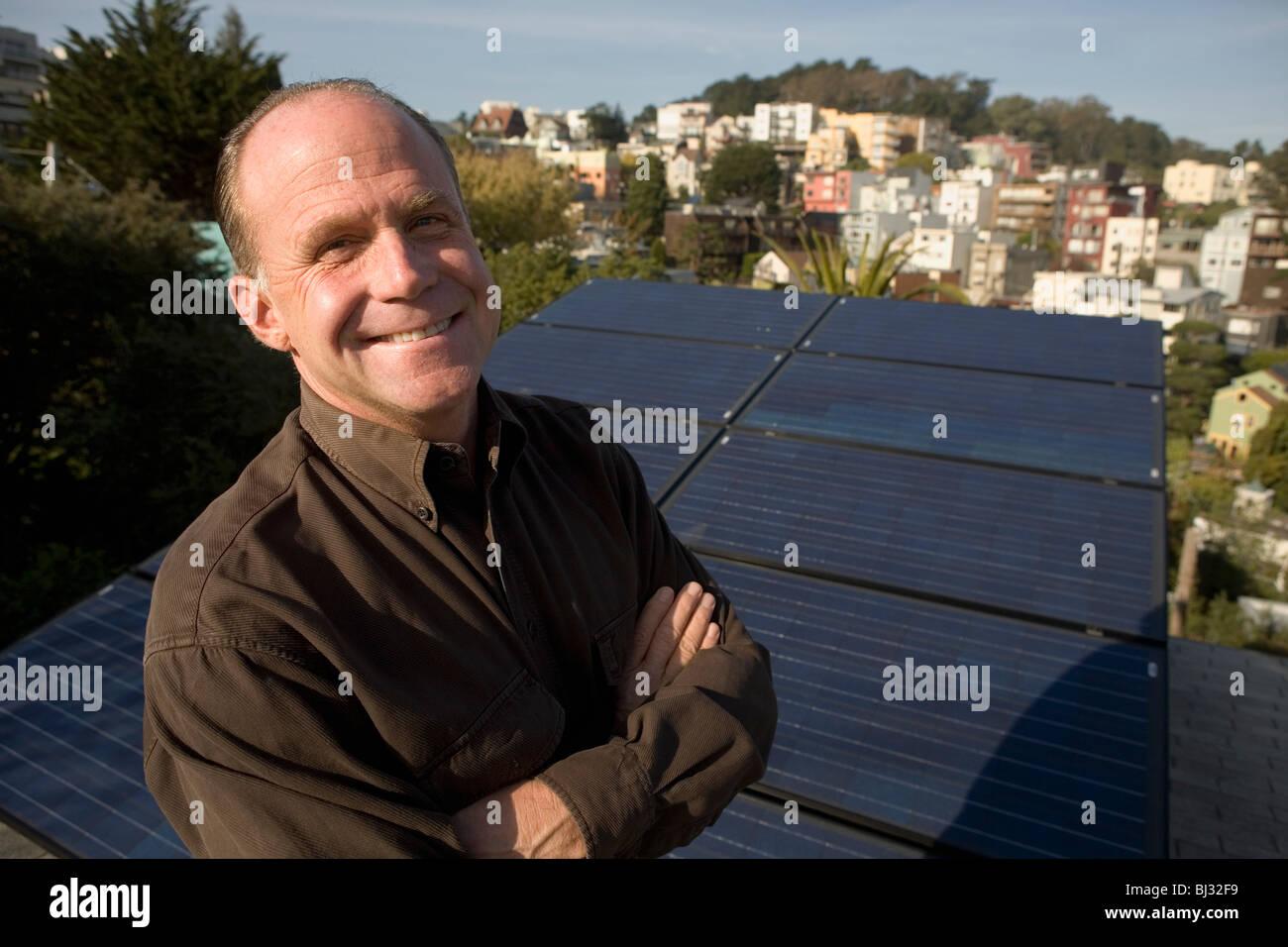 Residential installation of solar panels - Stock Image