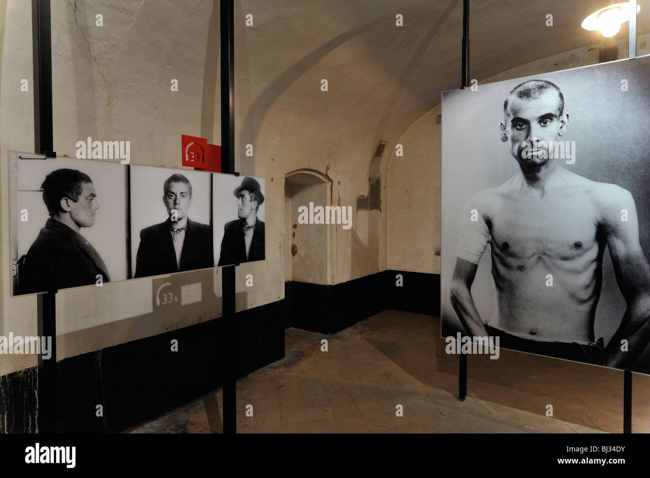 Pictures of political prisoners at Fort Breendonk, Second World War Two concentration camp in Belgium - Stock Image