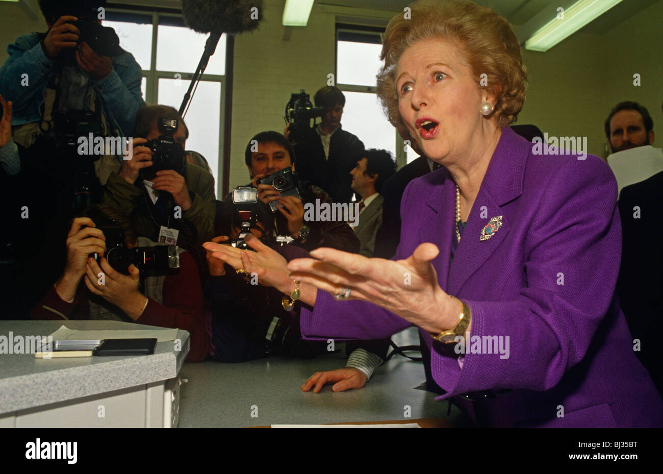 Margaret Thatcher plays up to the media at a North London school during John Major's eventual 1992 general election - Stock Image