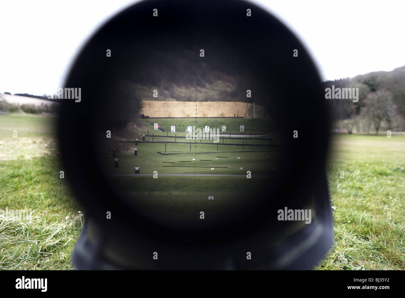 Looking down the telescopic sight of the new British-made Long Range L115A3 sniper rifle. - Stock Image