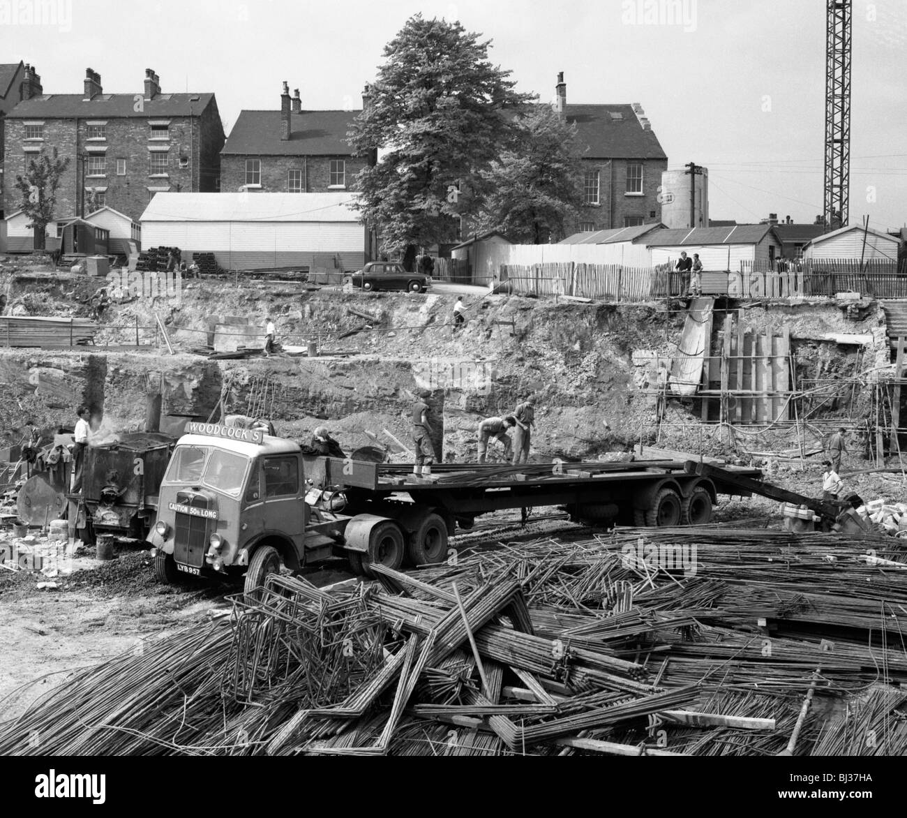 An AEC Mammoth Major on the building site for Sheffield University, 1960. Artist: Michael Walters - Stock Image