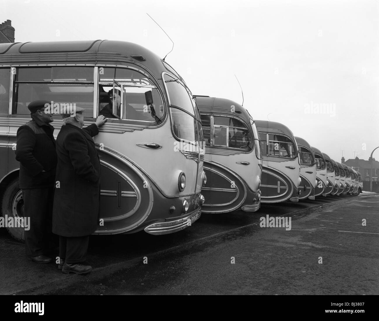 Fleet of AEC Regal Mk4s belonging to Philipson's Coaches, Goldthorpe, South Yorkshire, 1963. Artist: Michael - Stock Image