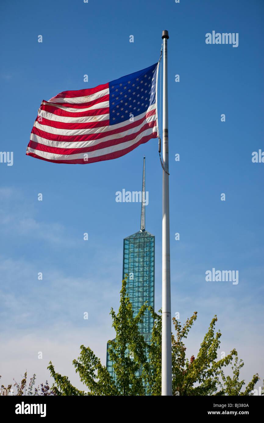 American flag at the Oregon Convention Center, Portland, Oregon, USA - Stock Image