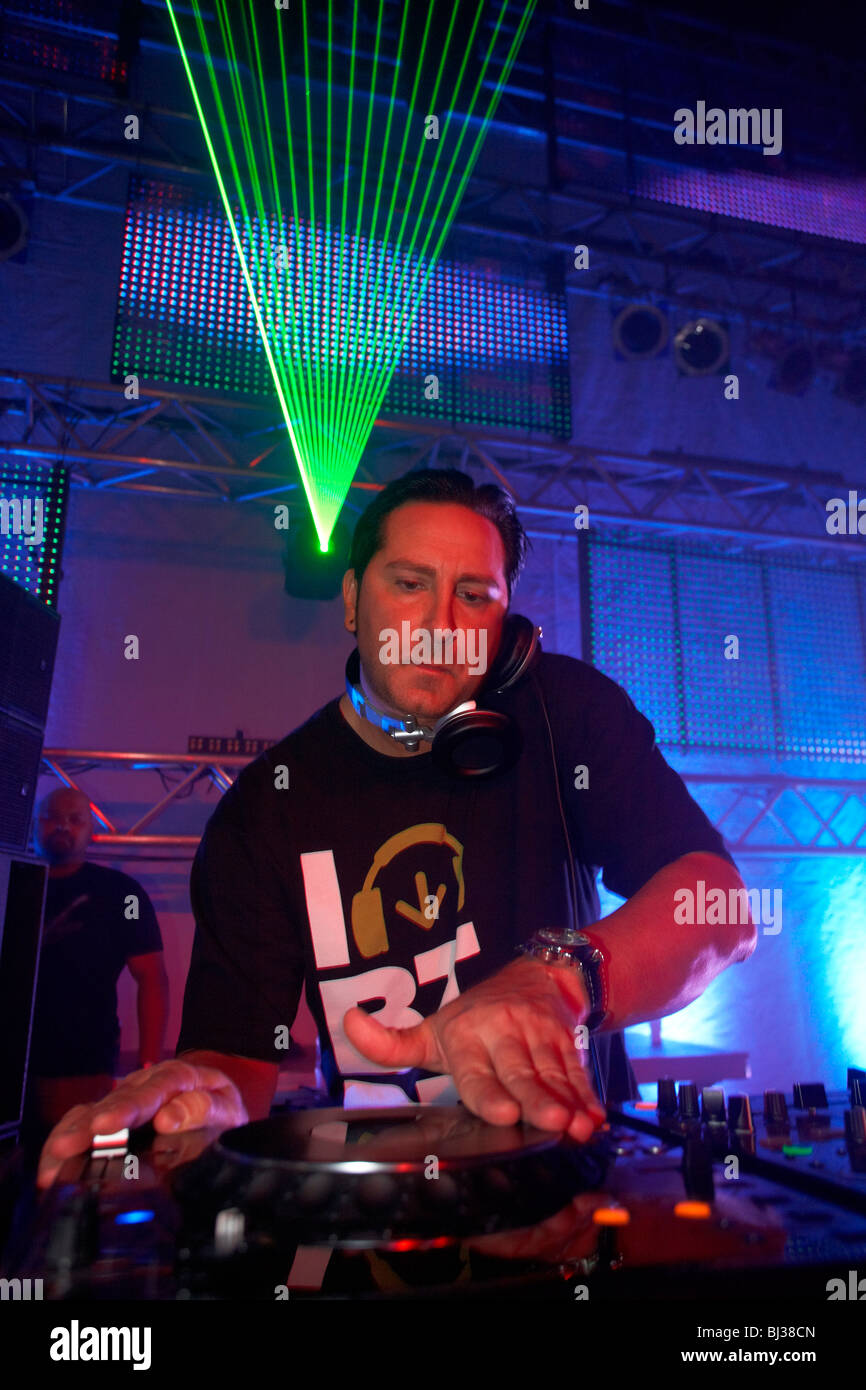 DJ Bad Boy Bill, Winter World 2010, techno festival in Sports Hall Oberwerth, Koblenz, Rhineland-Palatinate, Germany, - Stock Image