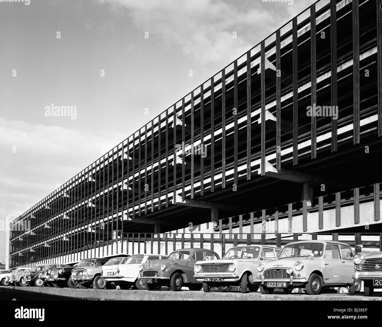 Doncaster North Bus Station car park, South Yorkshire, 1967.  Artist: Michael Walters Stock Photo