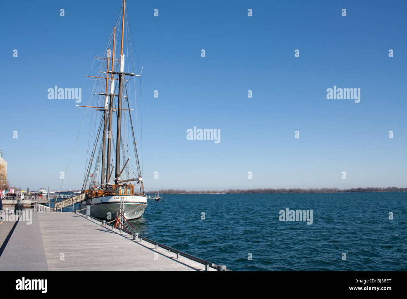 One of the largest sailing ship empire sandy at the toronto port, sail down - Stock Image