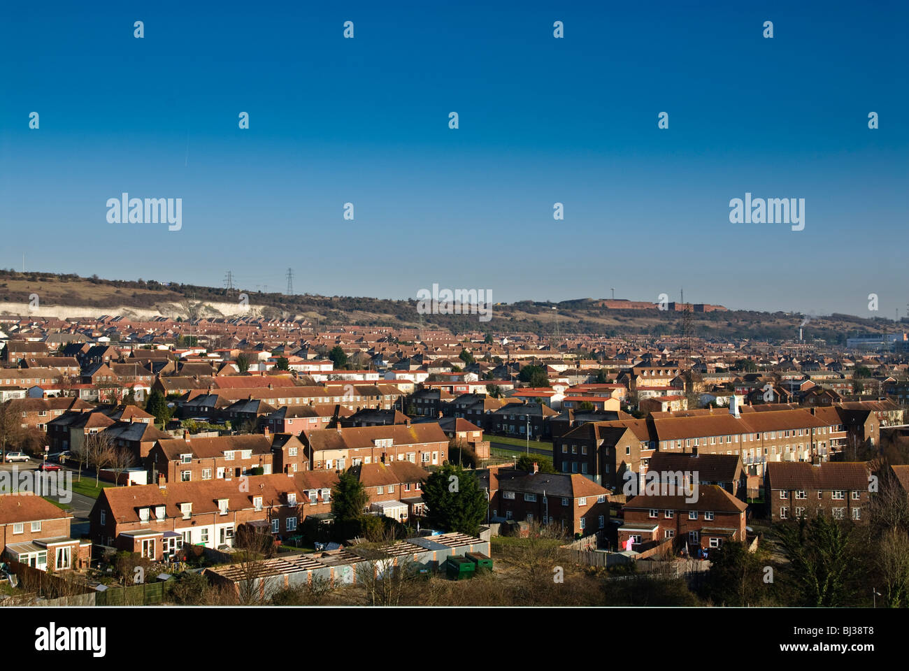 High view of council houses estate near Portsmouth Stock Photo